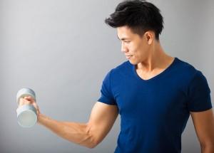 Man holding a dumblell
