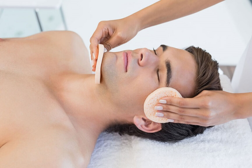 Man having skin care treatment