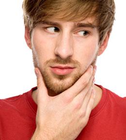 Man holding his chin